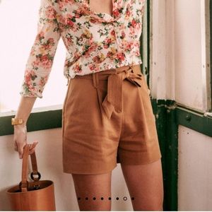 NWT Sezane Lucas shorts 6 / 38 Coffee